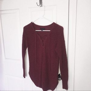 • aeo lace up sweater